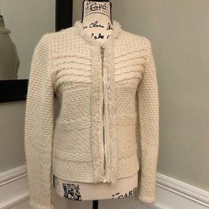 Ann Taylor Creme Sweater Zipped Jacket